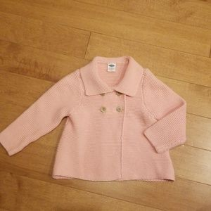 Old Navy Pink Knitted Sweater with Buttons - 12-18
